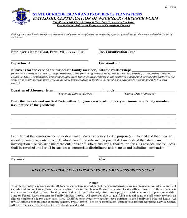 employee certification of necessary absence form