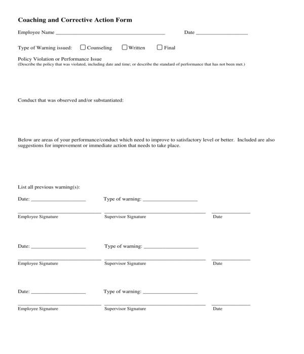free 10  employee corrective action forms in pdf