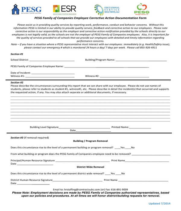 employee corrective action documentation form