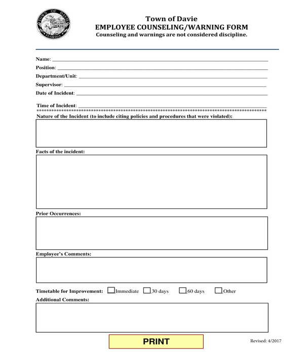 employee counseling warning form
