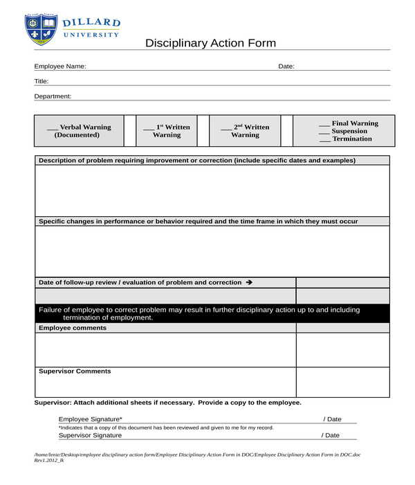 employee disciplinary action form in doc