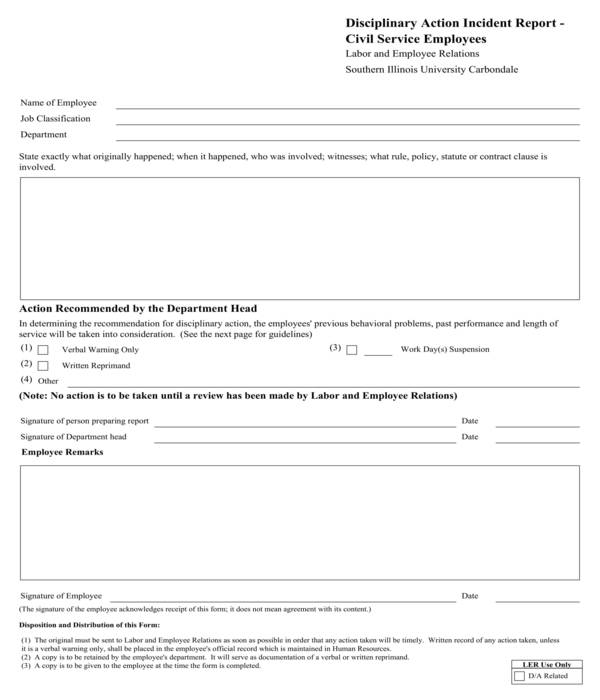 employee disciplinary action incident report form