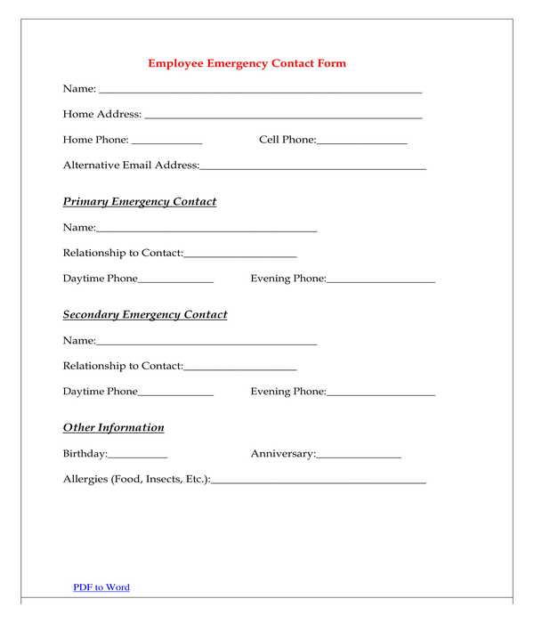 employee emergency contact form sample
