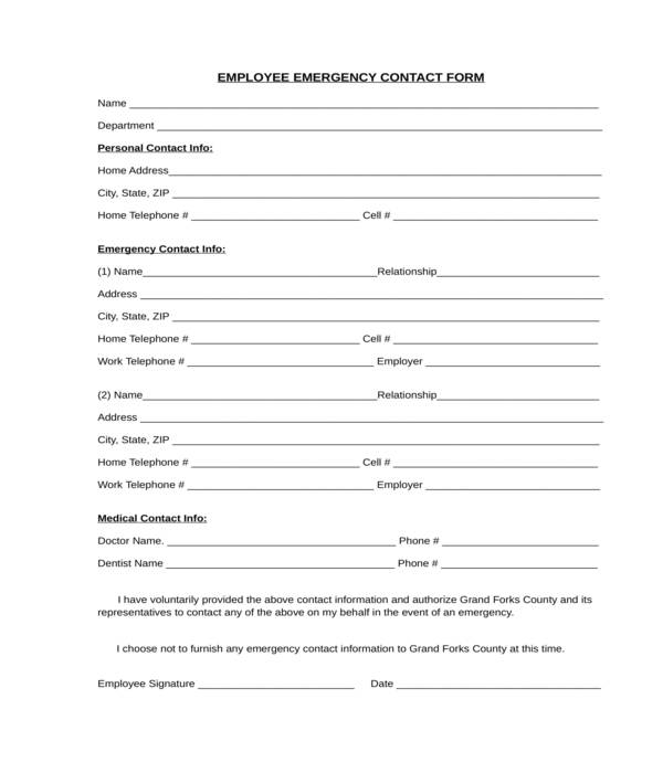 employee emergency contact form in doc