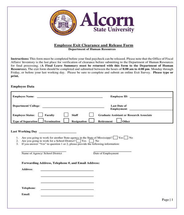 employee exit clearance and release form