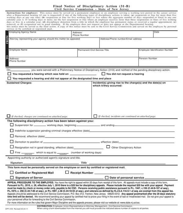 employee final disciplinary action notice form