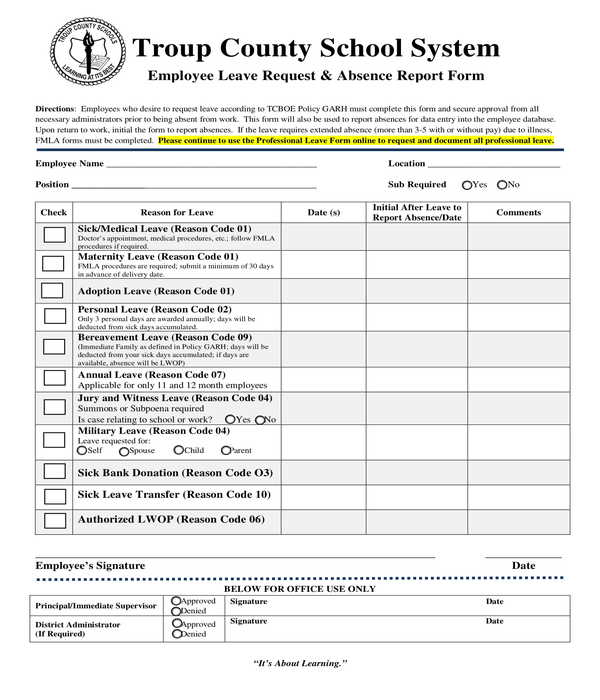 employee leave request and absence report form
