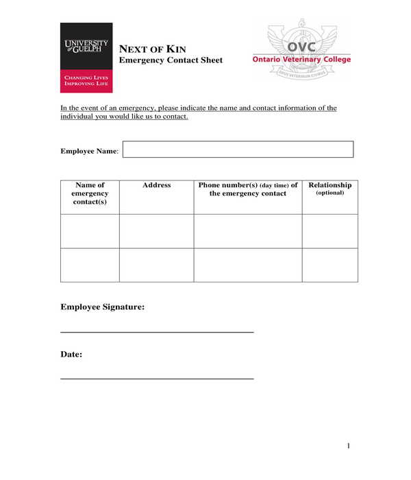 free 9  employee emergency contact forms in pdf