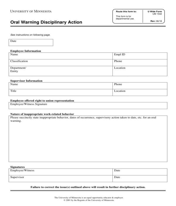 employee oral warning disciplinary action form