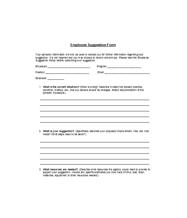 employee policy suggestion form