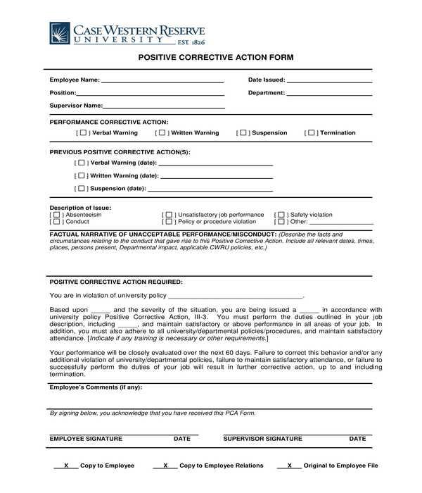 employee positive corrective action form