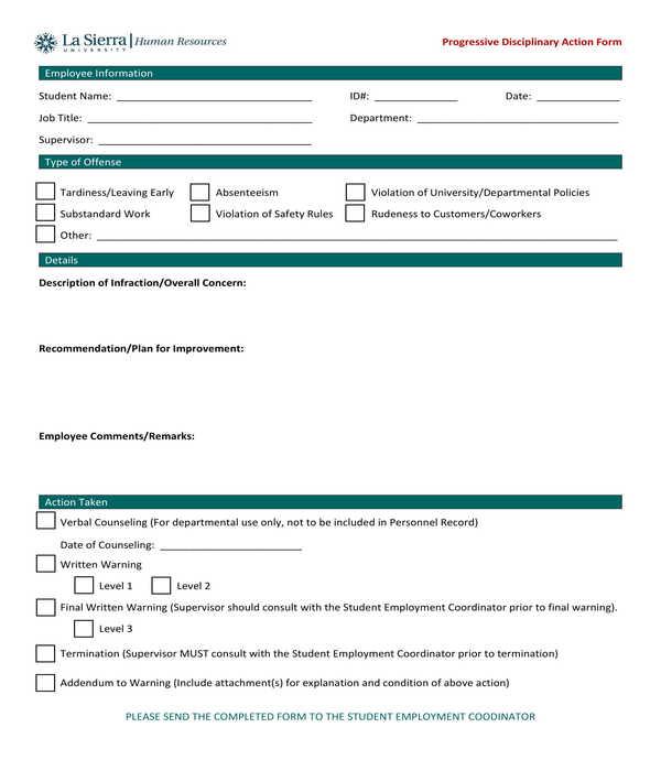 employee progressive disciplinary action form