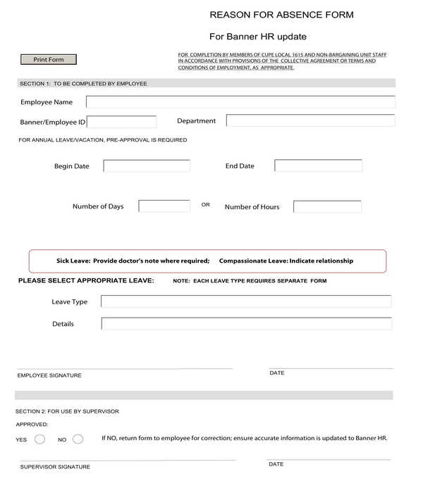 employee reason for absence form