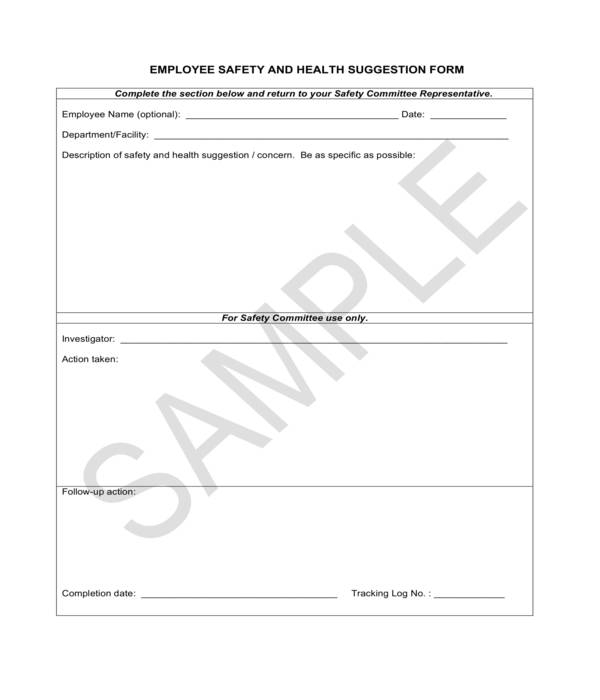 employee safety and health suggestion form