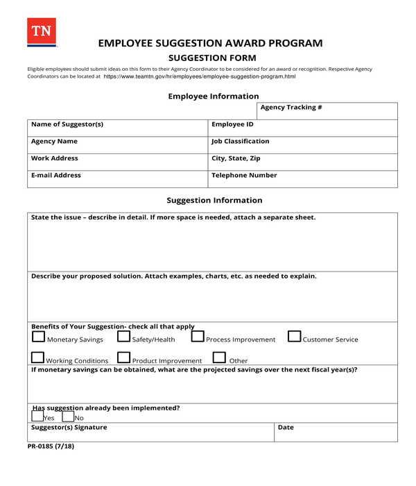 employee suggestion award program suggestion form