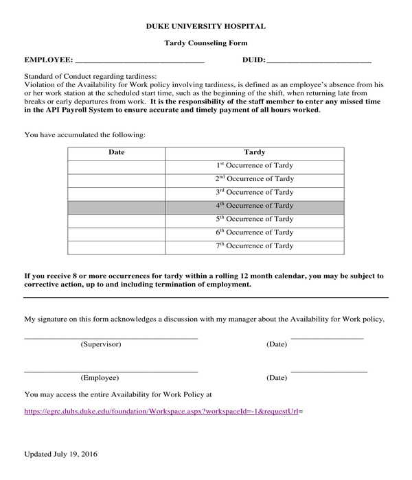 employee tardy counseling form