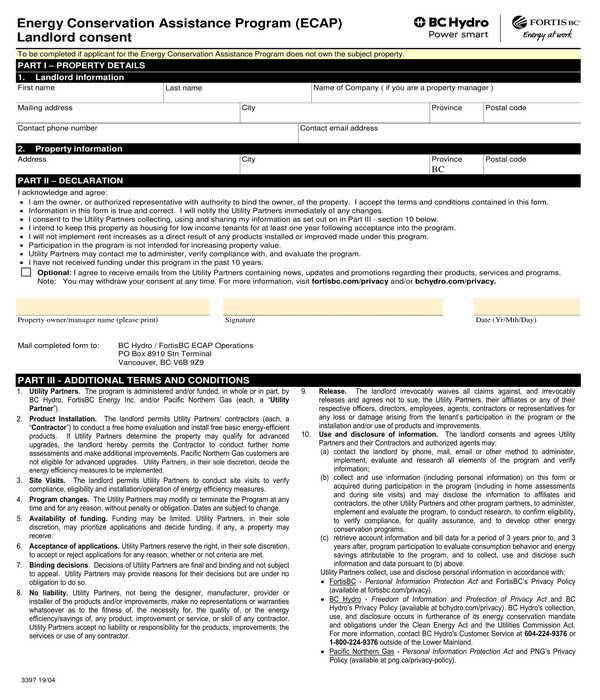 energy conservation program landlord consent form