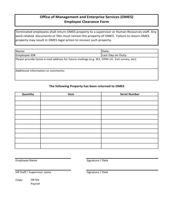 fillable employee clearance form