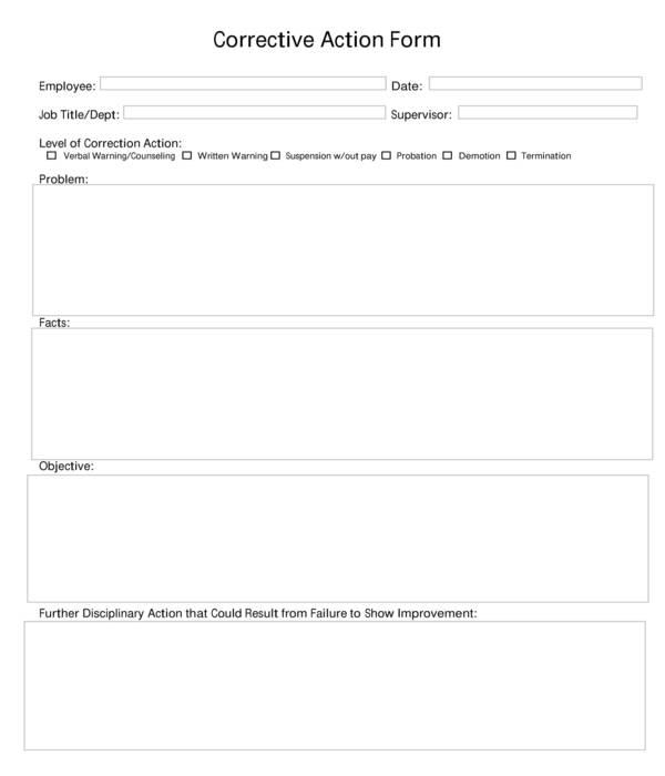 fillable employee corrective action form