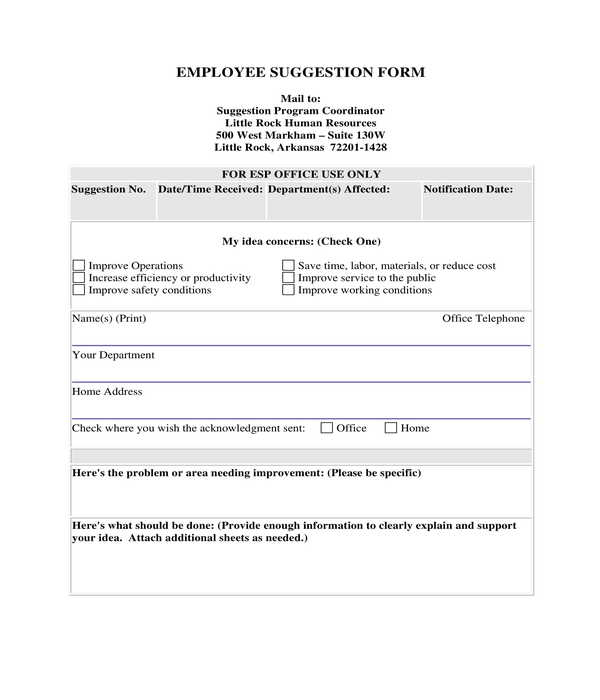 fillable employee suggestion form