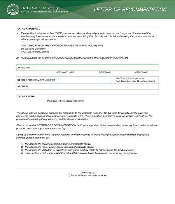 fillable graduate school recommendation letter form