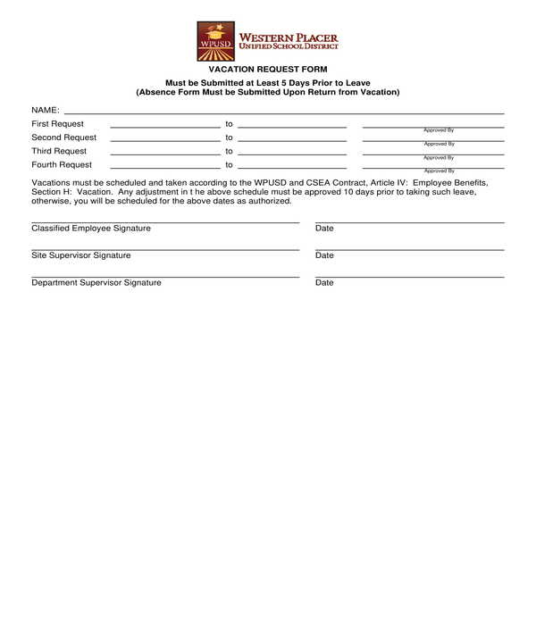 fillable vacation request form