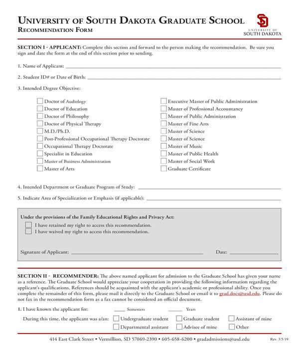 graduate school recommendation letter form