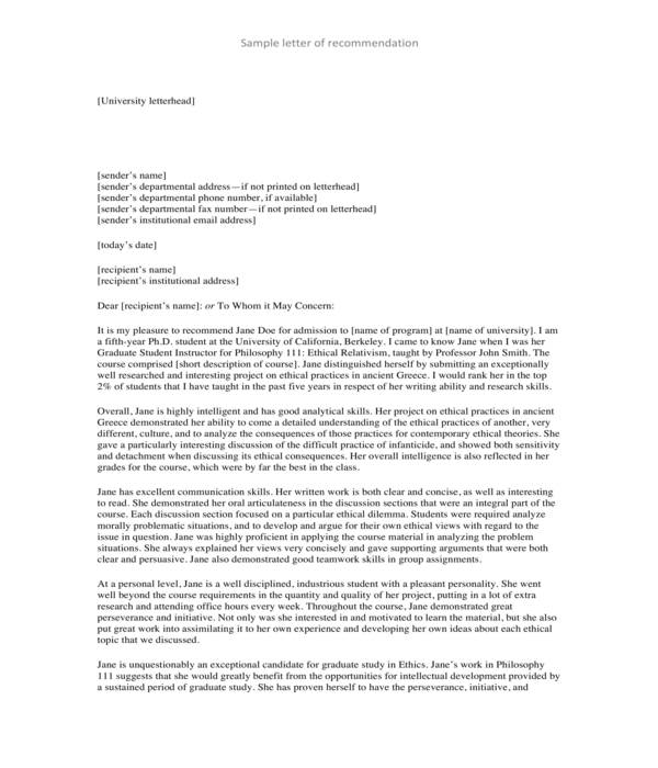 graduate school recommendation letter sample template