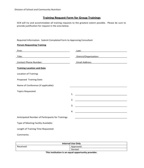 group training request form