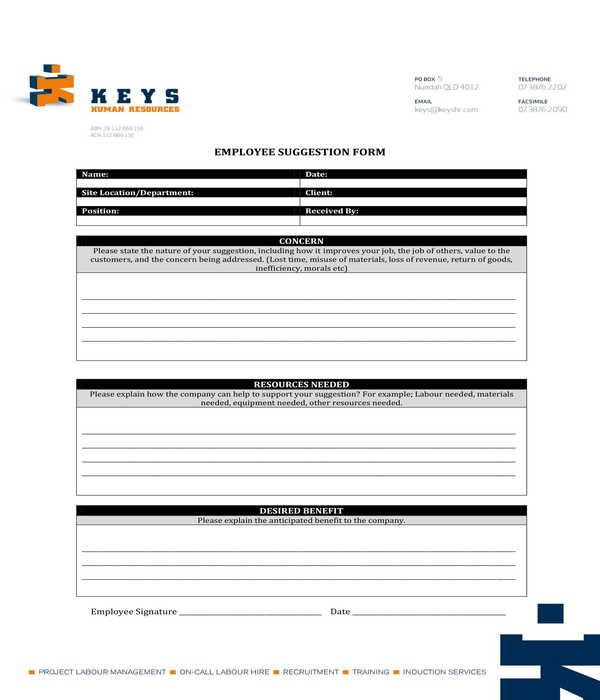 hr employee suggestion form