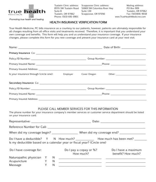 health insurance verification questionnaire form