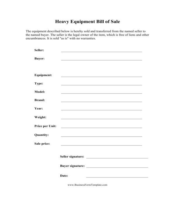 heavy equipment bill of sale