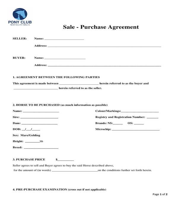 horse bill of sale purchase agreement form