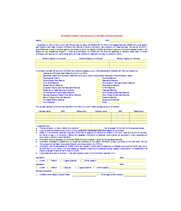 informed release consent form