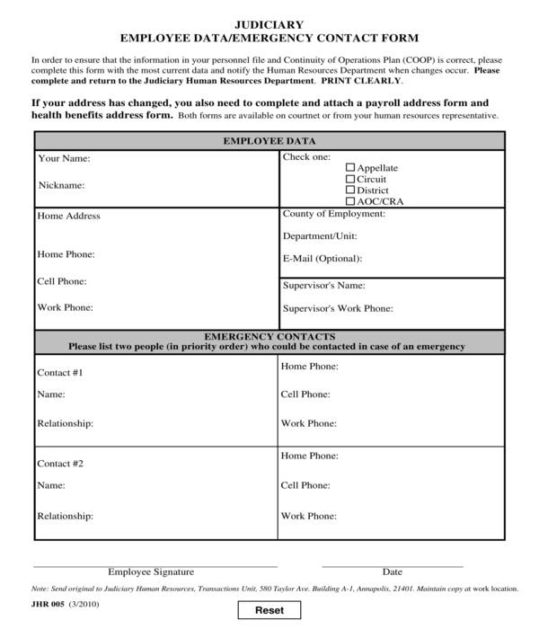 judiciary employee data and emergency contact form