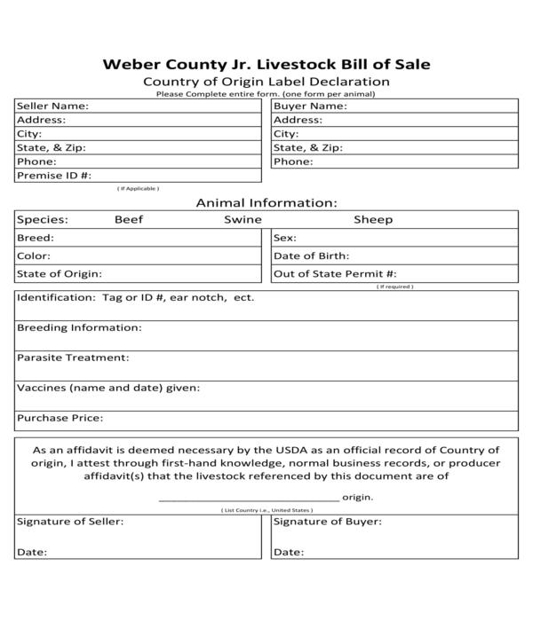 label declaration livestock bill of sale form