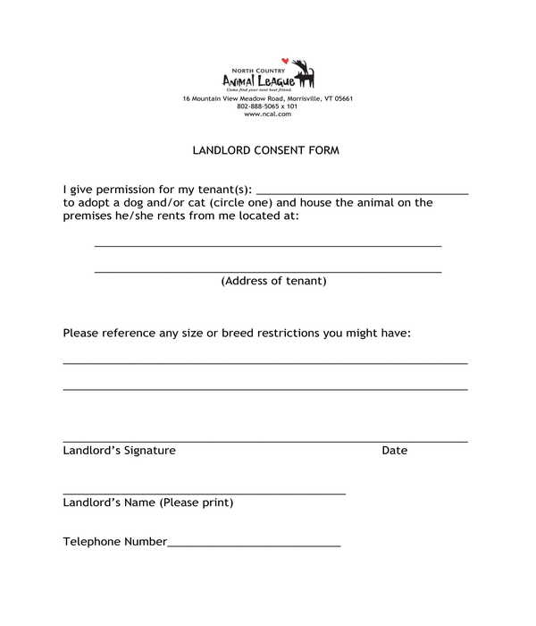 landlord animal adoption consent form