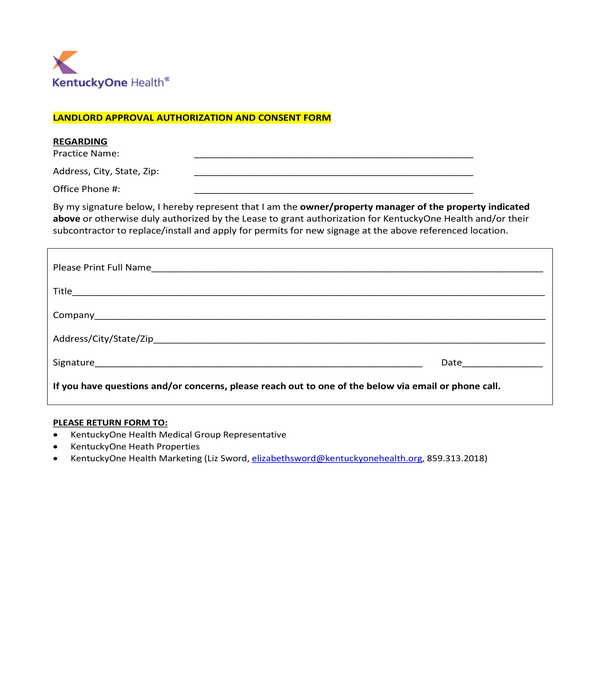 landlord approval authorization and consent form