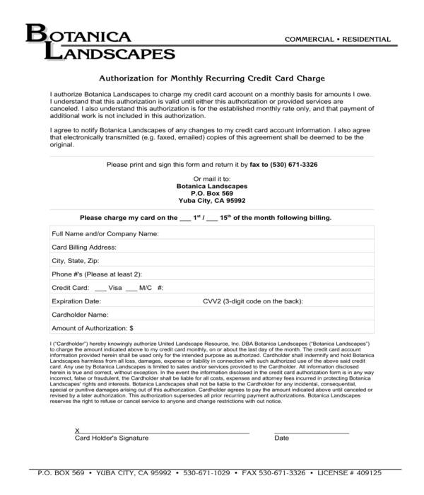 landscape service recurring credit card charge authorization form