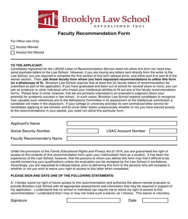 law school faculty recommendation letter form