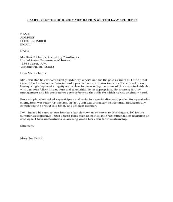 law school student recommendation letter sample