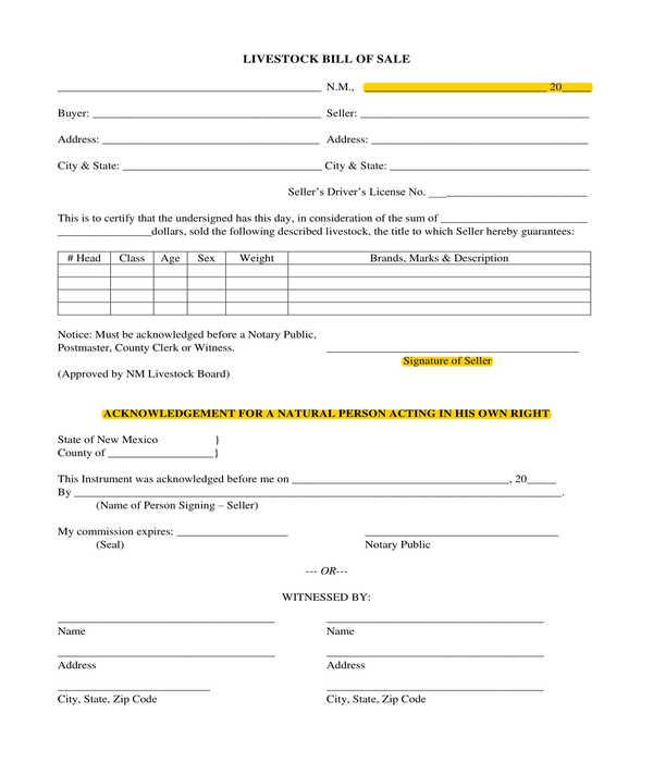 livestock bill of sale form sample