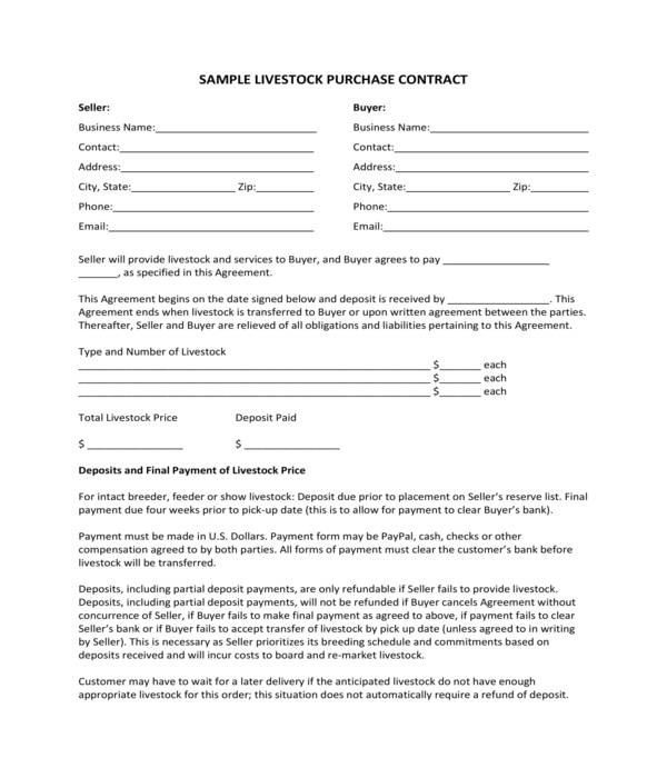 livestock bill of sale purchase contract form