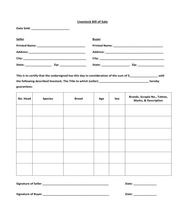 livestock bill of sale template