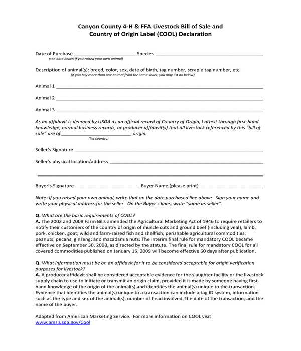 FREE 5+ Livestock Bill Of Sale Form Samples In PDF