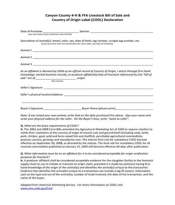 livestock bill of sale and declaration form