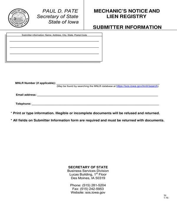 mechanics lien bond release affidavit form