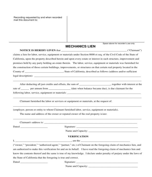 mechanics lien form sample