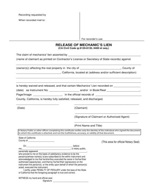 mechanics lien release form