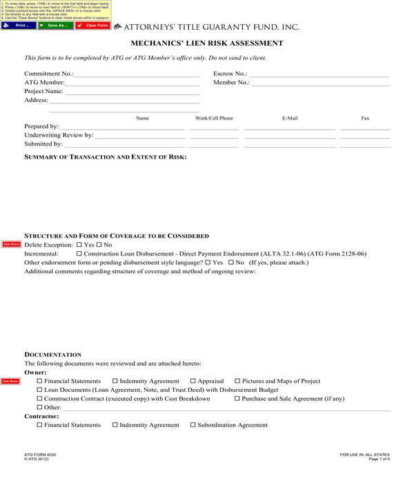 mechanics lien risk assessment form